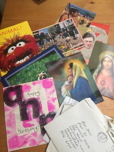 Hand made cards, Catholic kitsch, Alaska & Leicester